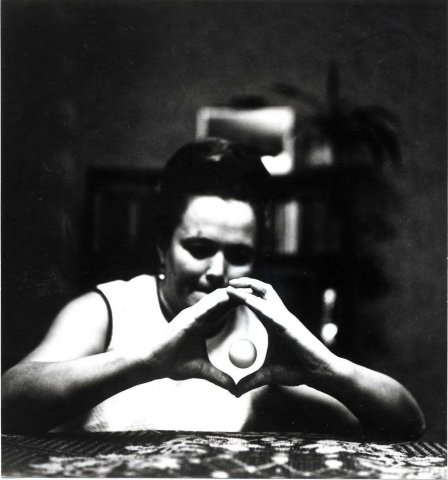 Nina Kulakina levitating what appears to be a ping-pong ball in the 1960s