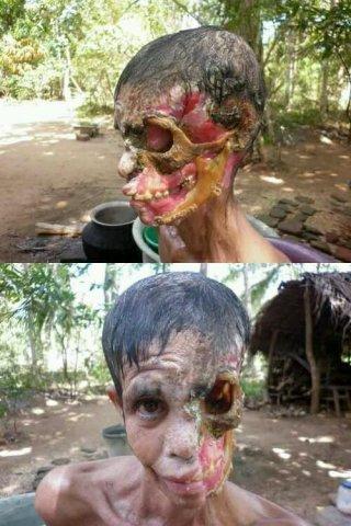disturbing destroyed face